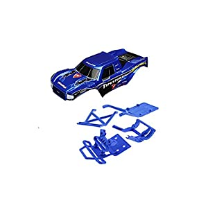 TRAXXAS BIGFOOT BODY THAT WILL FIT YOUR 2WD STAMPEDE OR MONSTER JAM TRUCKS AND BLUE BUMPERS AND SKID PLATES.