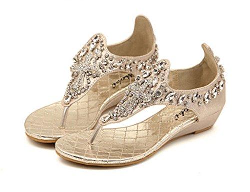 Crc Womens Elegante Stile Romano Scintilla Strass Confortevole Zeppe Sintetiche Tacco Sandali Infradito Oro