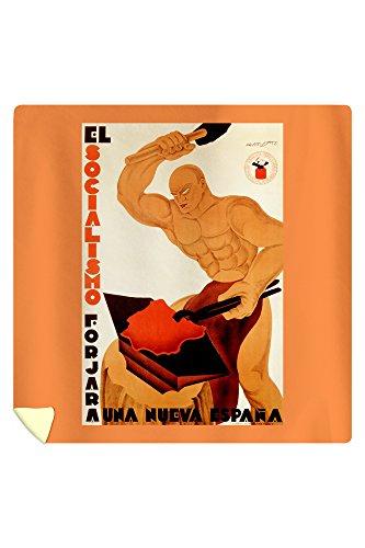 El Socialismo Forjara una Nueva Espana Vintage Poster (artist: Augusto) Spain (88x88 Queen Microfiber Duvet Cover) by Lantern Press
