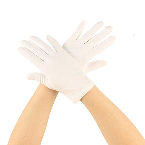 Matte 100% Cotton Stretchy Wrist Length Plain Blank Thin Gloves White 1 Pair