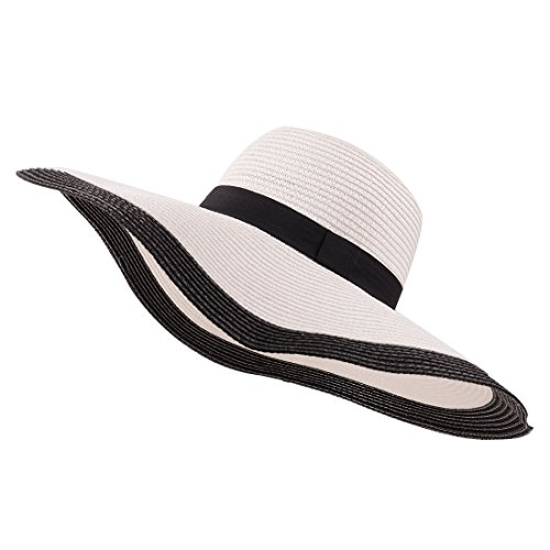 YUUVE Ladies Summer Straw Hat Fedora Floppy Sun Hat Large Wide Brim Beach  Cap For Women c9a1fb0d57d
