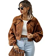 Qiaomai Womens Corduroy Jacket Loose Button Up Puff Sleeve Cropped Solid Jacket Coat