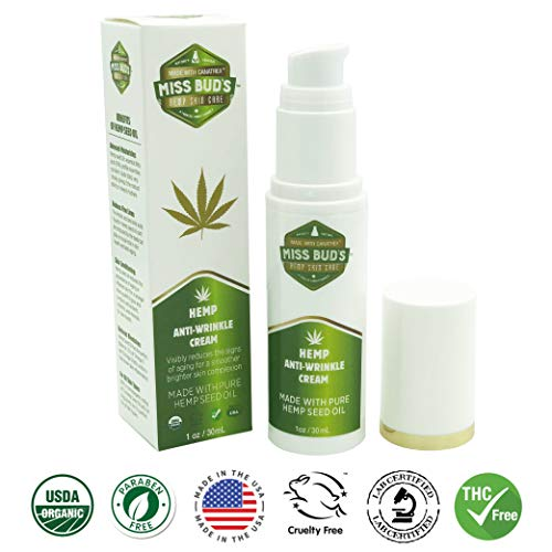 Miss Bud's Hemp Anti-Wrinkle Cream Reduce Line Increase Firmness and Elasticity Made from Pure Hemp Seed Oil