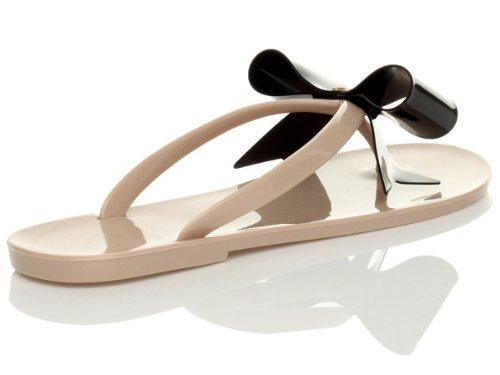 Ajvani , Damen Dusch- & Badeschuhe Nude / Black Bow