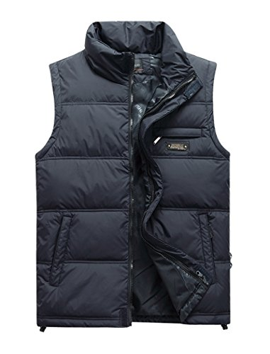 Outdoor Mens Outerwear - Vcansion Men's Classic Outwear Down Vest Lightweight Stand Collar Quilted Down Coat Navy XL