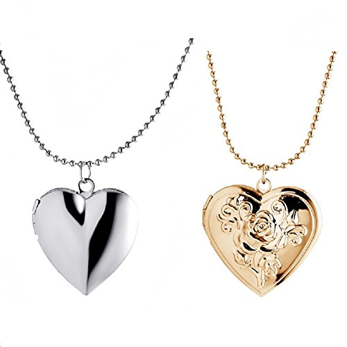 Simple Love Heart Silver Tone and Rose Gold Tone Locket Necklace that Holds Picture for Women Girl