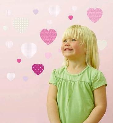FunToSee Sweethearts Girls Nursery and Bedroom Wall Decals, Hearts