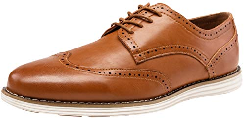 (VOSTEY Men's Dress Shoes Wingtip Brogue Oxford Classic Business Shoes (11.5,Yellow Brown-01))