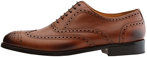 3DM Lifestyle Handcrafted Mens Genuine Leather Classic Brogue Oxford Wing-Tip Lace Up Leather Lined Perforated Dress Oxfords Shoes Cognac ZpGsnhn1l
