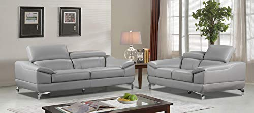 Cortesi Home Vegas Genuine Leather Sofa Loveseat Set with Adjustable Headrests, Grey