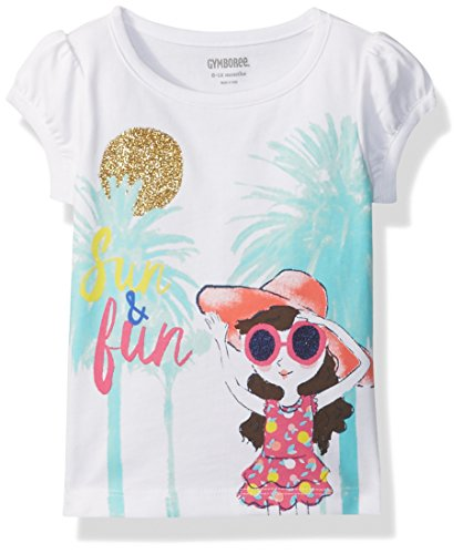 Gymboree Baby Toddler Girls' Palm Trees Graphic Tee, White, 4T