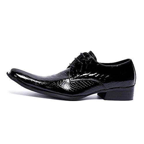 Color Wedding amp; Leather Square Shoes Toe Formal Spring for Shoes Size Bright A Evening HUAN Black Summer Oxfords 37 Men's Party q74TxT