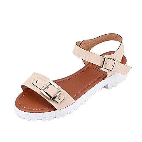 Secret paradise Womens Ladies Toe Verano Flat Flip Flop Sandalias Beige - beige