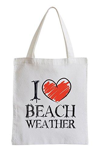 I love Beach Weather Fun Jutebeutel