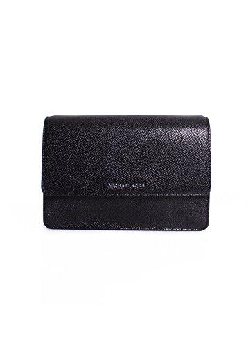 Michael Michael Kors Daniela Large Gusset Metallic Leather Crossbody Bag in Black