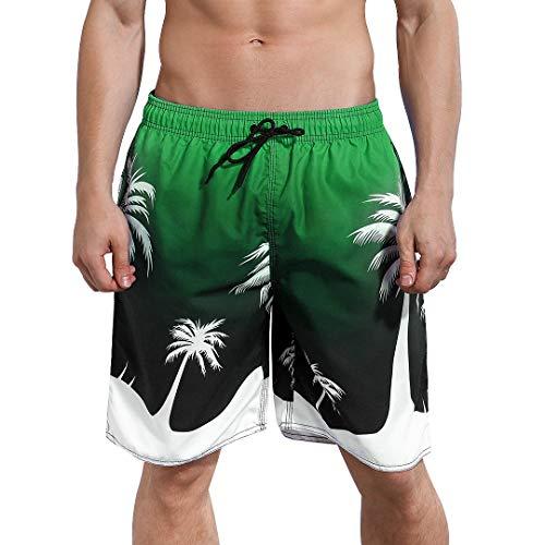 Mens Swim Trunks Suit - Milankerr Men's Swim Trunks (Green Coconut Trees, Small(30