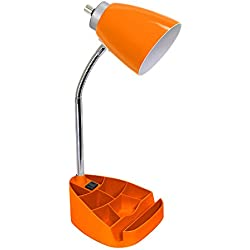 Limelights LD1057-ORG Gooseneck Organizer Desk Lamp with Ipad Tablet Stand Book Holder and Charging Outlet, Orange