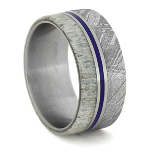 Gibeon Meteorite, Deer Antler, Blue Enamel Pinstripe 9mm Comfort-Fit Matte Titanium Wedding Band, Size 11 by The Men's Jewelry Store (Unisex Jewelry)