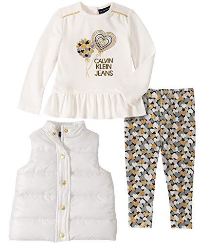 Calvin Klein Baby Girls 3 Pieces Vest Pants Set, Silent Vanilla/Print, 18M