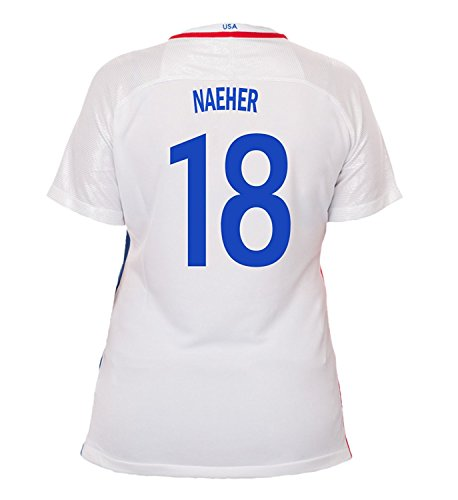 (Nike Naeher #18 USA Home Soccer Jersey Rio 2016 Olympics Women's (L))