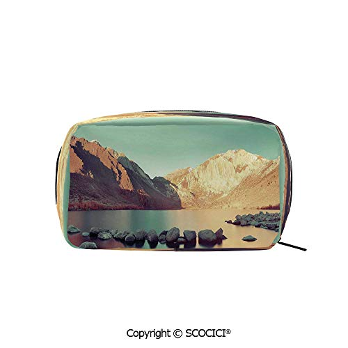 (Travel Cosmetic Bag Portable Makeup Pouch Snow Mountain and Convict Lake with Reflections in Yosemite Countryside Scene makeup clutch for Girls Ladies)