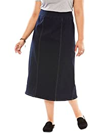 29c3b7def1a Plus Size Smooth Waist A-Line Denim Skirt