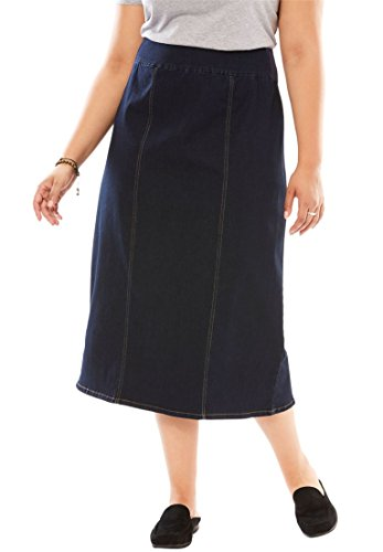 Woman Within Plus Size Smooth Waist A-Line Denim Skirt - Indigo Sanded, 20 ()