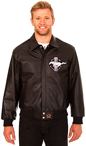 Ford Mustang Men's Black Leather Bomber Jacket with Embroidered Applique Logos ()