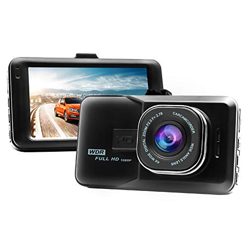 "GraceFINE Dash Cam 1080P Full HD Car DVR 3"" LCD and Night Vision Dashboard Camera Driving Recorder 6-Lane 170 Degree Wide Angle with G-Sensor, WDR and Loop Recording (Black)"