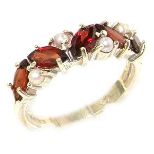 925 Sterling Silver Real Genuine Garnet & Cultured Pearl Womens Eternity Ring