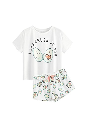 DIDK Women's Cute Cartoon Print Tee and Shorts Pajama Set White S