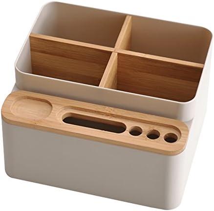 Schreibtisch Schreibwaren Aufbewahrungsbox Abnehmbare Desktop Mehrzweck Aufbewahrungsbox Holz, Bambus Schreibtisch Tidy Halter, Abnehmbare Pen Schere Handy Notebook Gläser Fernbedienung weiß
