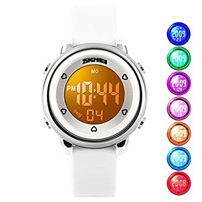 Kids Digital Waterproof Watch for Girls Boys, Sport Outdoor LED Electrical Watches with Luminescent Alarm Stopwatch Child Wristwatch from cofuo