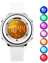 Kids Digital Waterproof Watch for Girls Boys, Sport Outdoor LED Electrical Watches with Luminescent Alarm