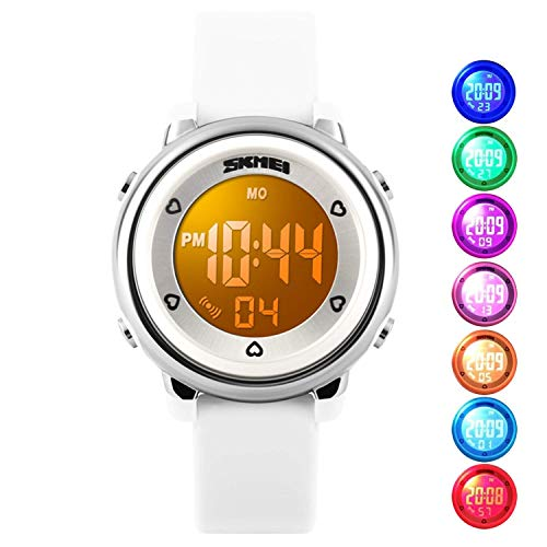 Kids Digital Waterproof Watch for Girls Boys, Sport Outdoor LED Electrical Watches with Luminescent Alarm Stopwatch Child Wristwatch (White)