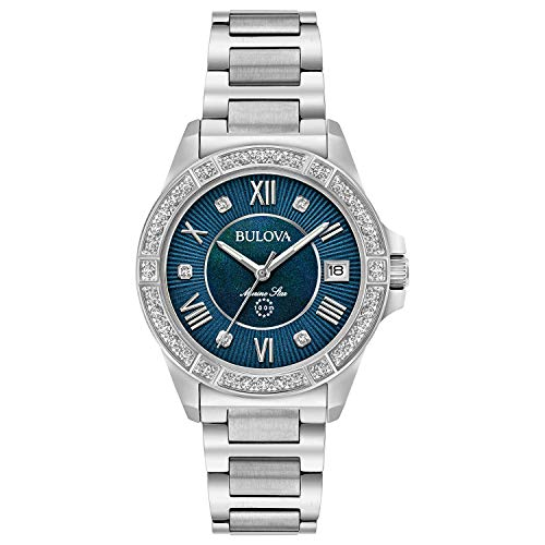 Bulova Women's Analog-Quartz Watch with Stainless-Steel Strap, Silver, 15 (Model: 96R215)