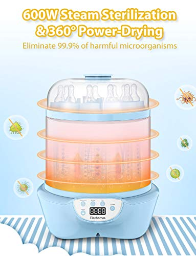 41qi62g2TeL - Elechomes Baby Bottle Sterilizer And Dryer, BPA Free 600W Electric Steam Sterilizer, Fit For 8-Ounce Dr Brown Bottle And Easy To Operate
