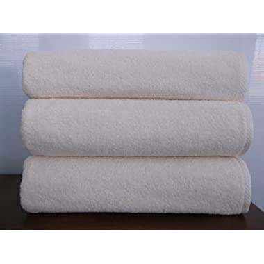 Classic Turkish Towels  Arsenal Bath Sheet Towel Set of 3 - 600 Gram Natural) (Ivory)