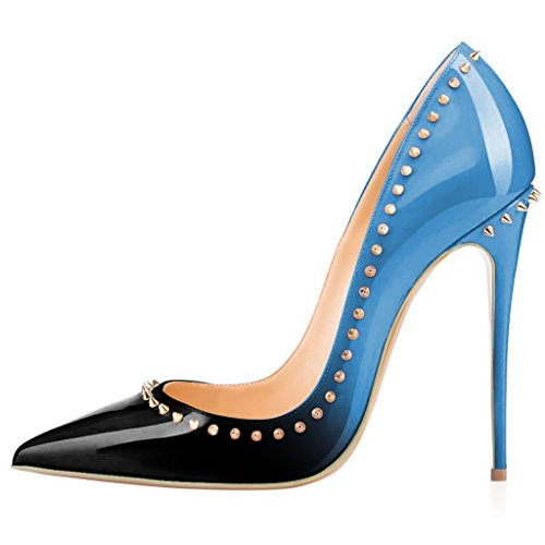free shipping fashionable FSJ Women Sexy Studded High Heels Pointed Toe Gradient Pumps Dress Shoes With Rivets Size 4-15 US Blue Gradient ebay discount latest sale best outlet looking for M5mGB1a