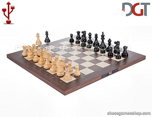 DGT USB Rosewood e-Board with Classic pieces - Electronic chess by DGT
