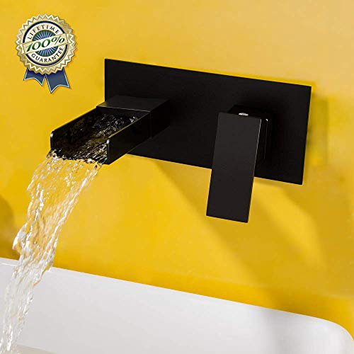 (Wall Mounted Waterfall Bathroom Sink Faucet,BULUXE 2-Hole Single Handle Bathroom Faucets, Use for Vessel or Basin Sinks, Premium Matte Black Finish Faucet in Modern Design)