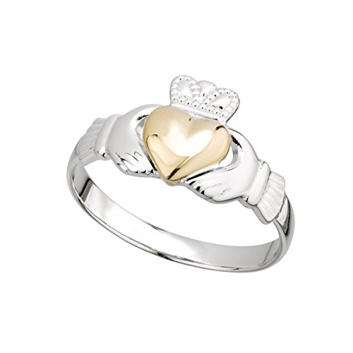 Ladies Claddagh Ring Sterling Silver & 10k Yellow Gold Heart, Sz 5