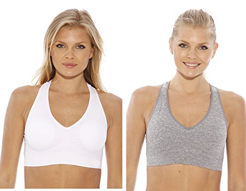 (Just Intimates SB20027-4-XX-2X Racerback Sports Bra (Pack of 2) Heather Gray, White )