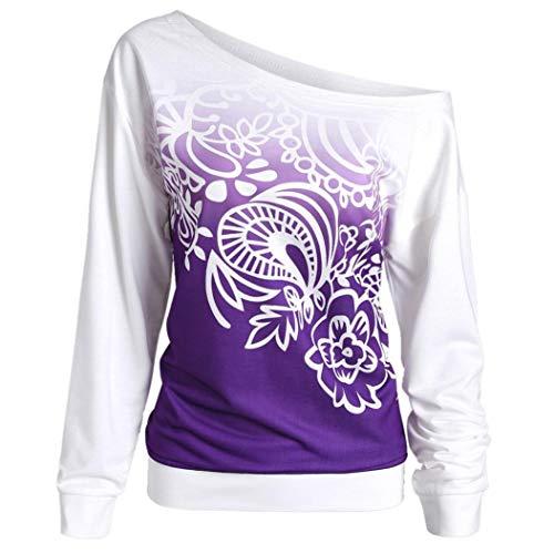 Violet Shirt DéContractée Longue Pullover Sweat Cou T Imprimé Femmes BaZhaHei L'Automne Manche Chemisier Slash Shirt gSwq6YRY