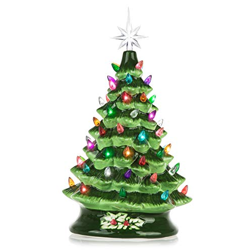 RJ Legend Ceramic Christmas Tree - Green Decorative Christmas Tree with Lights - Hand Painted Pre-Lit Holiday Centerpiece - Multicolored Bulbs & 7 Point Star Topper - Elegant Design