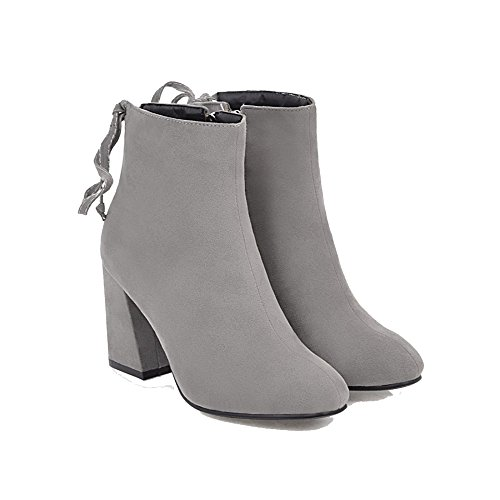 AgeeMi Shoes Women's Zipper Closed Pointed Toe Kitten Heels Frosted Solid Boots EuX64 Gray dbU3SLaAe