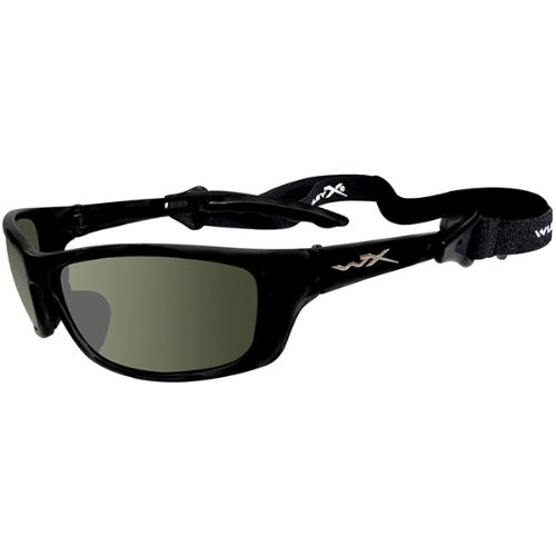 Wiley X P-17 Polarized Sunglasses - Smoke Green Lens - Gloss Black Frame [P-17]