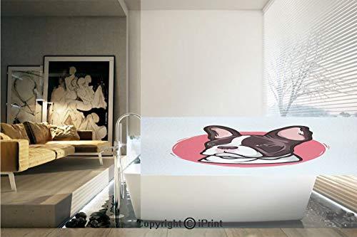 Decorative Privacy Window Film/Cute French Bulldog Artistic Portrait Hipster Purebred Creature Pet Illustration Decorative/No-Glue Self Static Cling for Home Bedroom Bathroom Kitchen Office Decor -