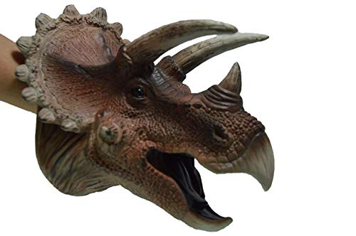 AomoriHaba Japan 3D Jurrasic Large Realistic Triceratops Dinosaur Toy Hand Puppet for Adults and Kids (Free Dinosaur Sticker)