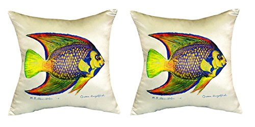 Pair of Betsy Drake Queen Angelfish No Cord Pillows 18 Inch X 18 Inch price